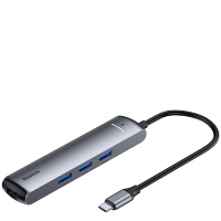 Хаб Baseus mechanical eye Six-in-one (HDMI, USB3.0, Ethernet port) Серый
